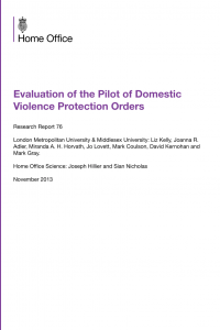 Evaluation of the Pilot of Domestic Violence Protection Orders (DVPOs)