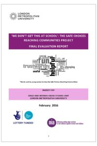 Evaluation of Safe Choices: reaching communities project for young women on sexual exploitation