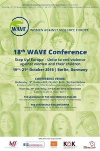 Liz Kelly presents the Corinna Seith Award 2016 at 18th WAVE Conference, Berlin